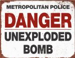 Police Unexploded Bomb Metal Sign Wall Plaque 15X20cm Vintage Style Artwork